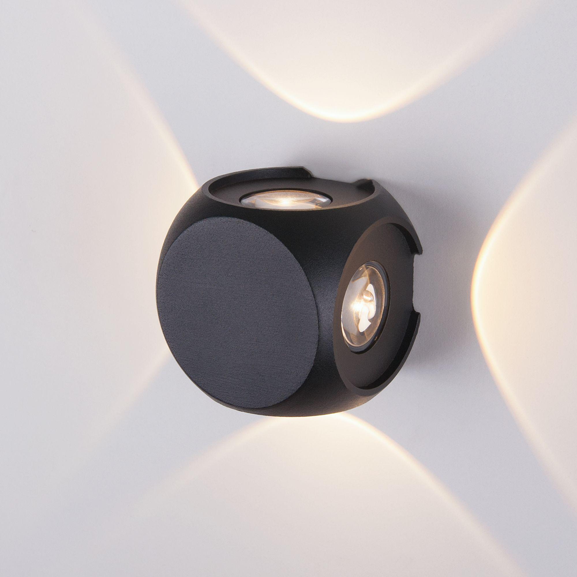Уличный настенный светодиодный светильник CUBE черный 1504 TECHNO LED черный