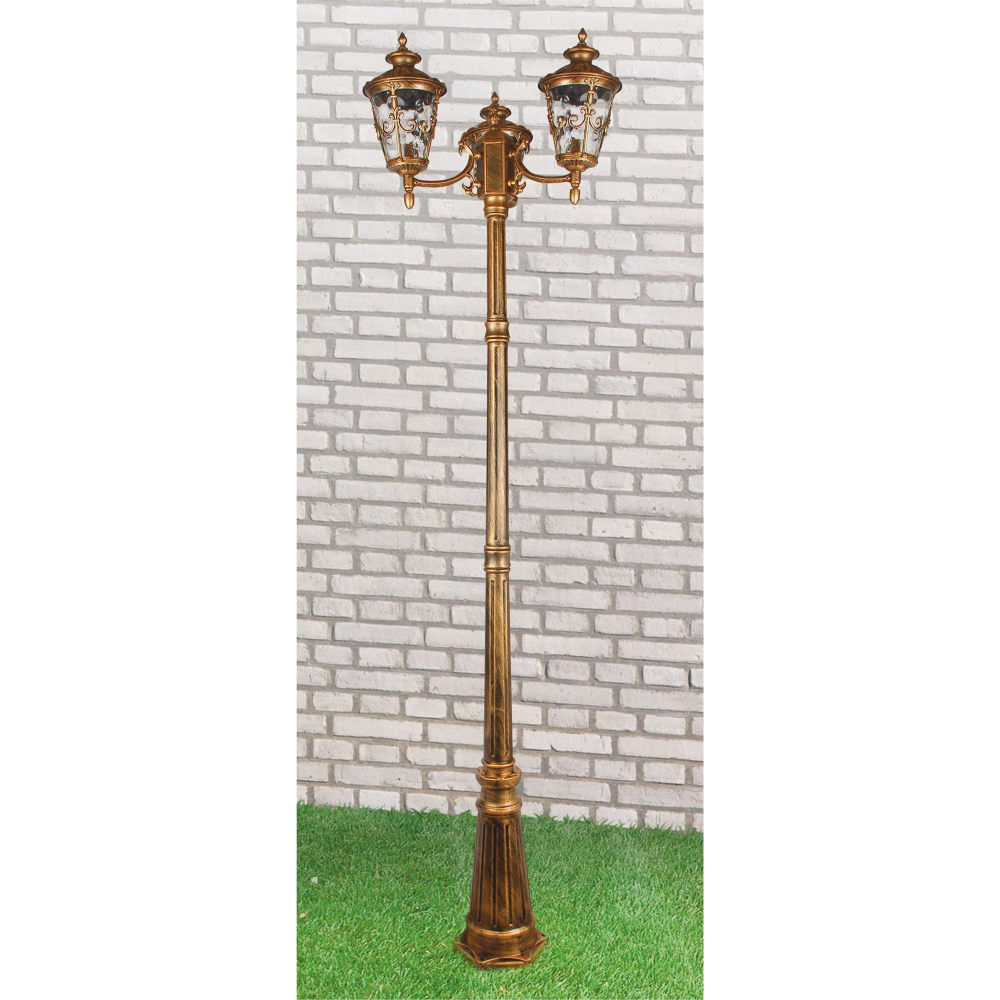 Diadema F/3 черное золото уличный трехрожковый светильник на столбе IP44 GLYF-8046F/3