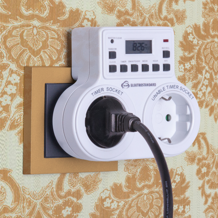 Розетка-таймер 16A x2 IP20 Белый TMH-E-5